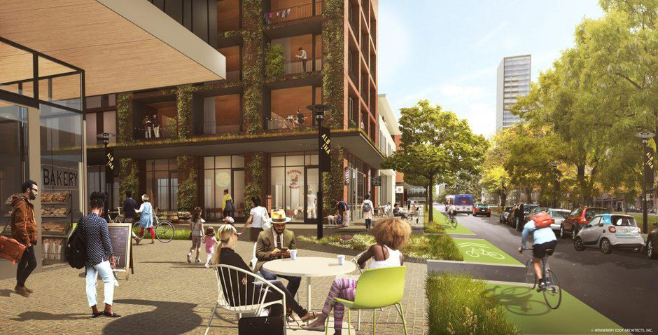 An artist's rendering of a reimagined Albina neighborhood in North Portland.