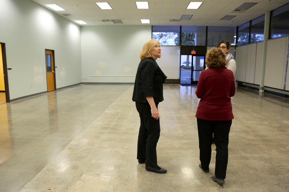 Vancouver Mayor Anne McEnerny-Ogle takes a tour of the new Vancouver Navigation Center, the city's new 5,000-square-foot homeless day center.