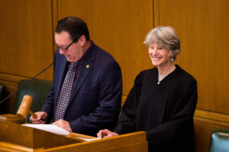 Oregon Supreme Court Chief Justice Martha L. Walters addresses the Oregon House of Representatives on Monday, Jan. 14, 2019, in Salem, Ore.