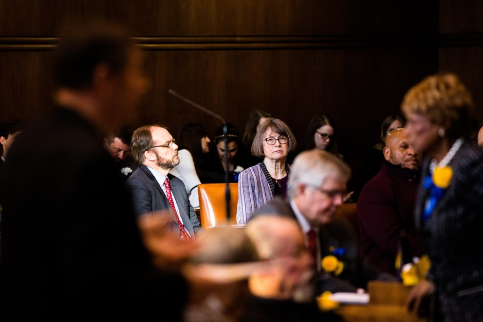 Senate Majority Leader Ginny Burdick, D-Portland, listens to arguments on the floor of the Oregon Senate on Monday, Jan. 14, 2019.