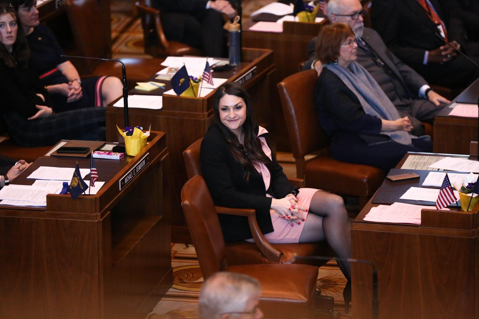 Oregon state Sen. Shemia Fagan, D-Portland, at the start of the 2019 legislative session at the State Capitol in Salem, Ore., Monday, Jan. 14, 2019.