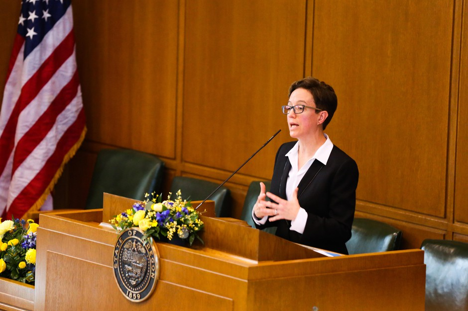 Oregon House Speaker Tina Kotek, opening the 2019 legislative session at the State Capitol in Salem, Ore., Monday, Jan. 14, 2019.