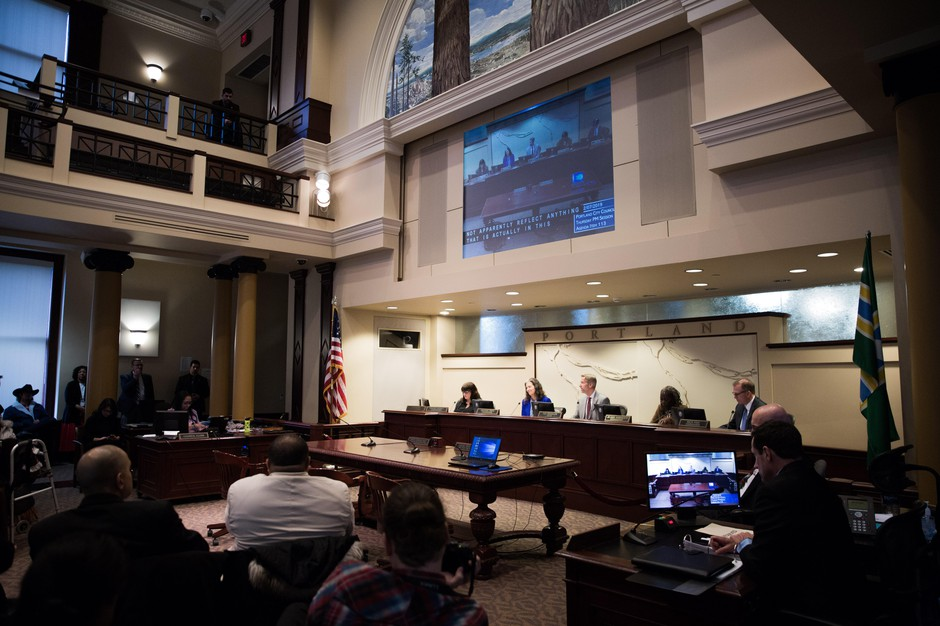 The Portland City Council hearing on Thursday, Feb. 8, 2019, that resulted in the passing of a resolution condemning white supremacists and alt-right hate groups.
