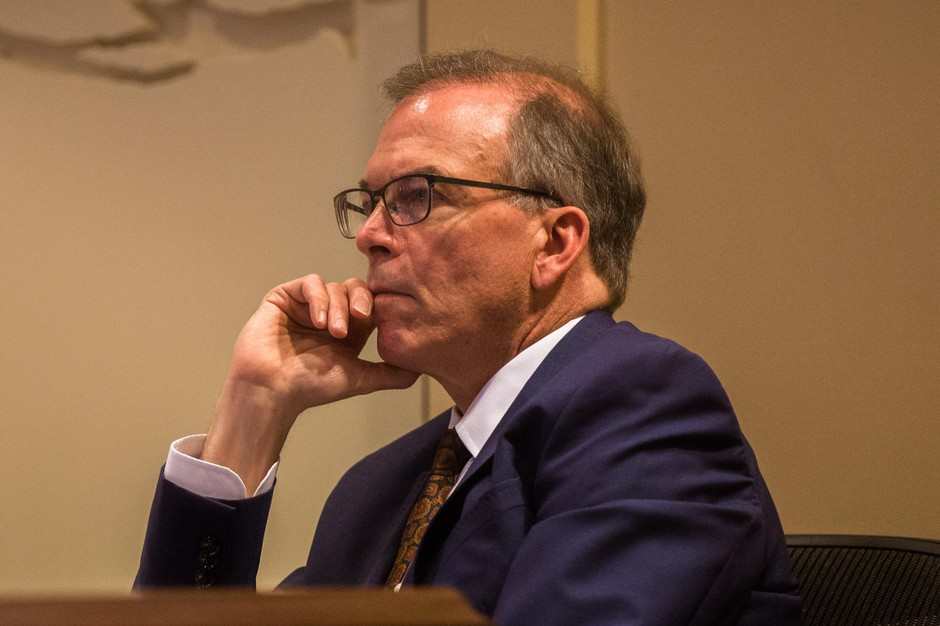 Commissioner Nick Fish listens to testimony at City Hall in Portland, Ore., Wednesday, Feb. 13, 2019. Fish died on Jan. 2, 2020, shortly after announcing plans to resign.