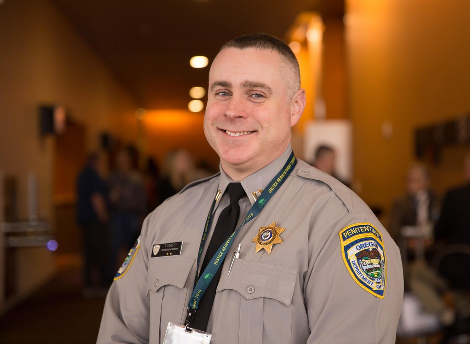Oregon Corrections  Capt. Toby Tooley poses for a portrait at the Oregon Justice Reinvestment Summit in Salem, Ore., Feb. 14, 2019. Tooley visited Norwegian prisons as part of the Oregon-Norway corrections exchange program.