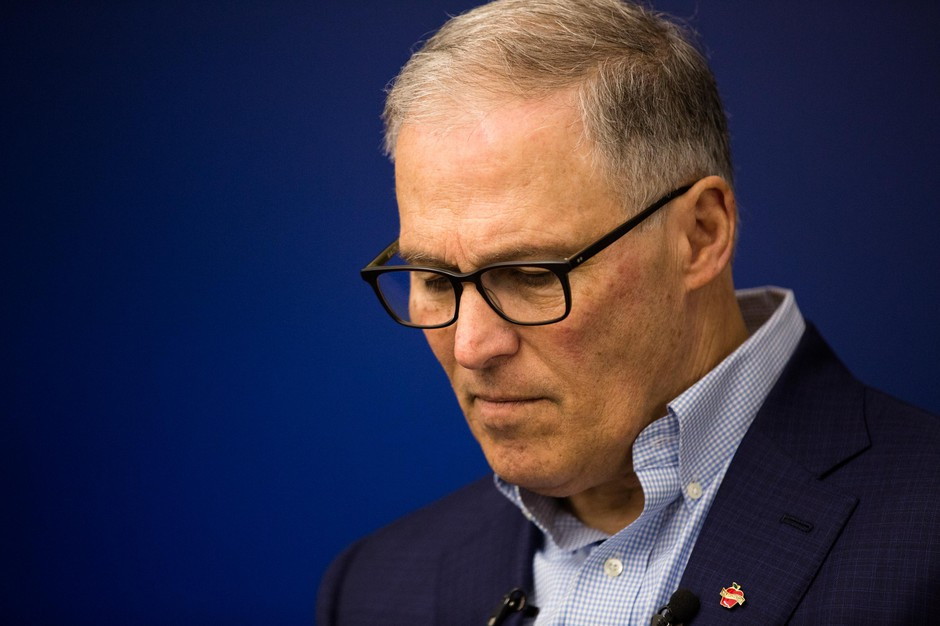 Presidential hopeful and Washington Gov. Jay Inslee, right, speaks at the International Brotherhood of Electrical Workers Local 48 training center in Portland, Ore., Saturday, March 23, 2019. Inslee is visiting cities across the country as part of the Climate Mission Tour in the early stages of his presidential campaign.