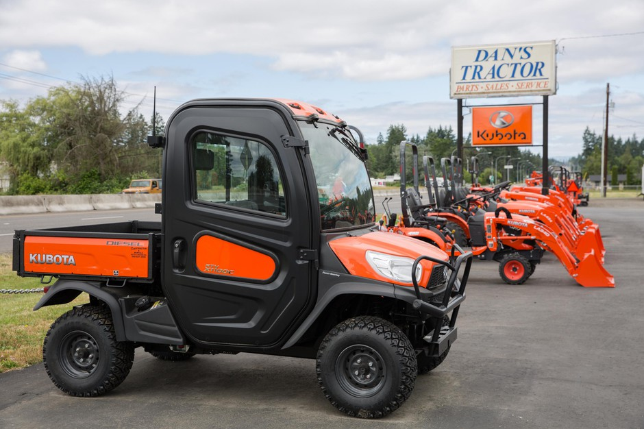Kubota vehicles sit on the lot at Dan's Tractor Inc. on Tuesday, June 18, 2019, near Battle Ground, Wash.