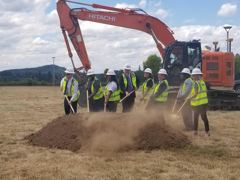 Justice Adrienne C. Nelson participates in the groundbreaking ceremony for the new high school named after her in North Clackamas. She is joined by students, school leaders and supporters.