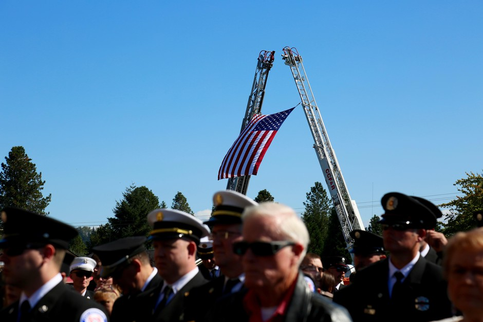 Hundreds of firefighters, first responders and community members gathered to honor Cowlitz County Battalion Chief Mickel Zainfeld on Tuesday Oct. 1, 2019.