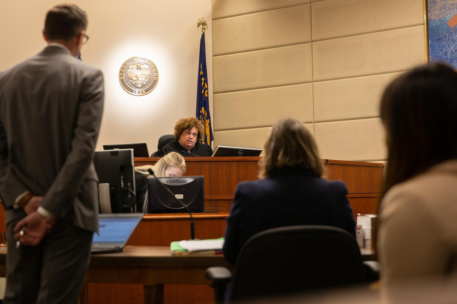 Judge Nan Waller speaks from the bench during a court hearing Tuesday, Oct. 8, 2019, at the Multnomah County Justice Center in Portland, Ore. Waller said a need exists for community-based services to help people who don't qualify for state hospital admission.