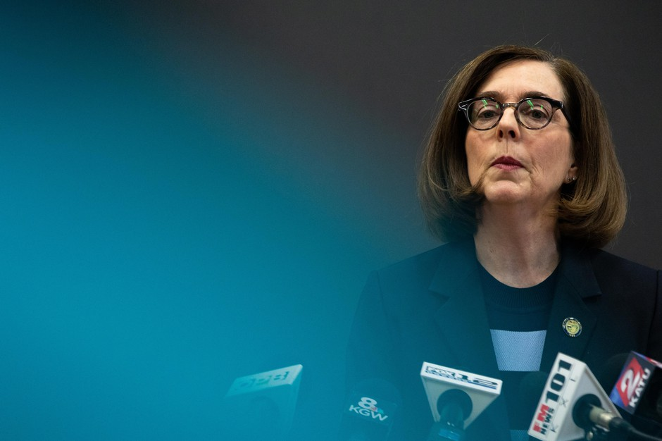 Oregon Gov. Kate Brown speaks during a news conference on the coronavirus outbreak, March 16, 2020.