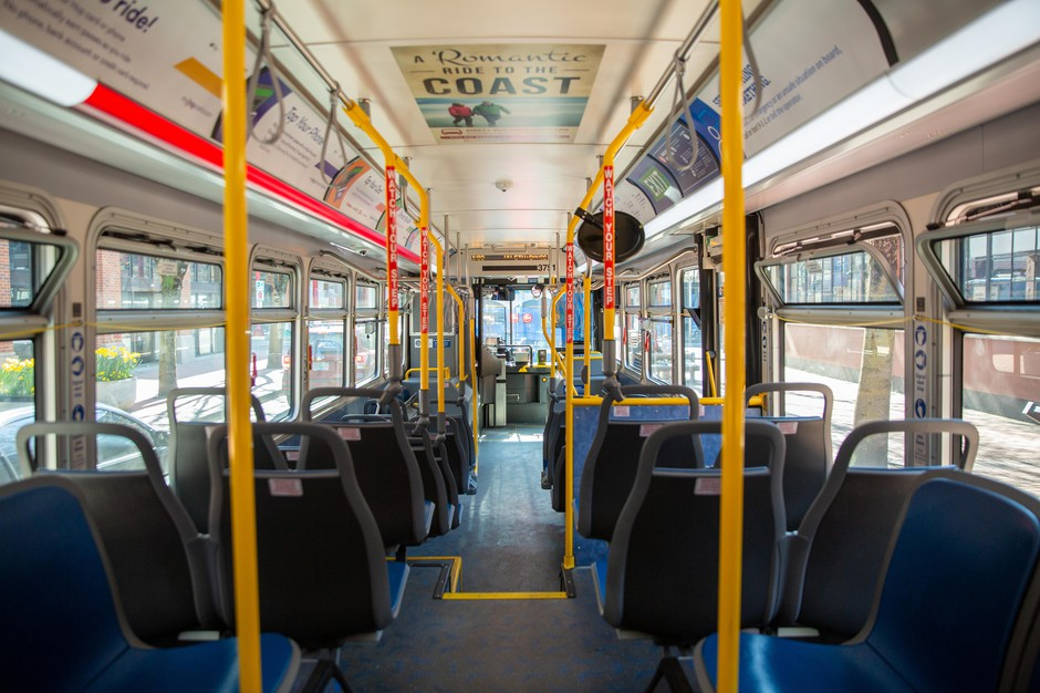An empty TriMet bus 35 makes its way through downtown Portland, Ore., on Friday, March 20, 2020. TriMet is reporting decreased ridership numbers as the region deals with an ongoing coronavirus outbreak.