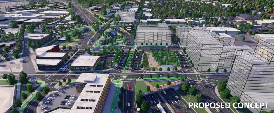 This ODOT image shows its plan for highway covers over a section of Interstate 5 near Portland's Rose Quarter.