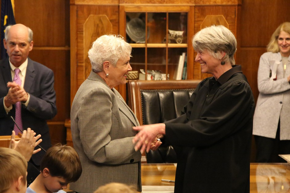 Bev Clarno is sworn in as Oregon secretary of state by Oregon Supreme Court Chief Justice Martha L. Walters in the governor's ceremonial office at the Capitol in Salem, Ore., Wednesday, April 4, 2019.