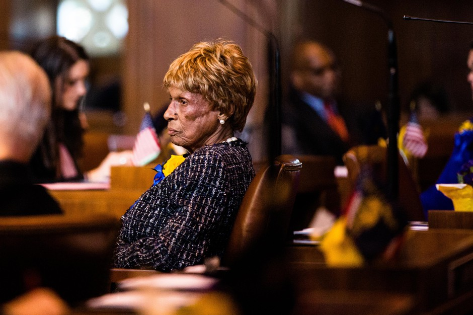 State Sen. Jackie Winters, R-Salem, in the Oregon Senate on Monday, Jan. 14, 2019, in Salem, Ore. Winters championed a bill to offer leniency to juvenile offenders.