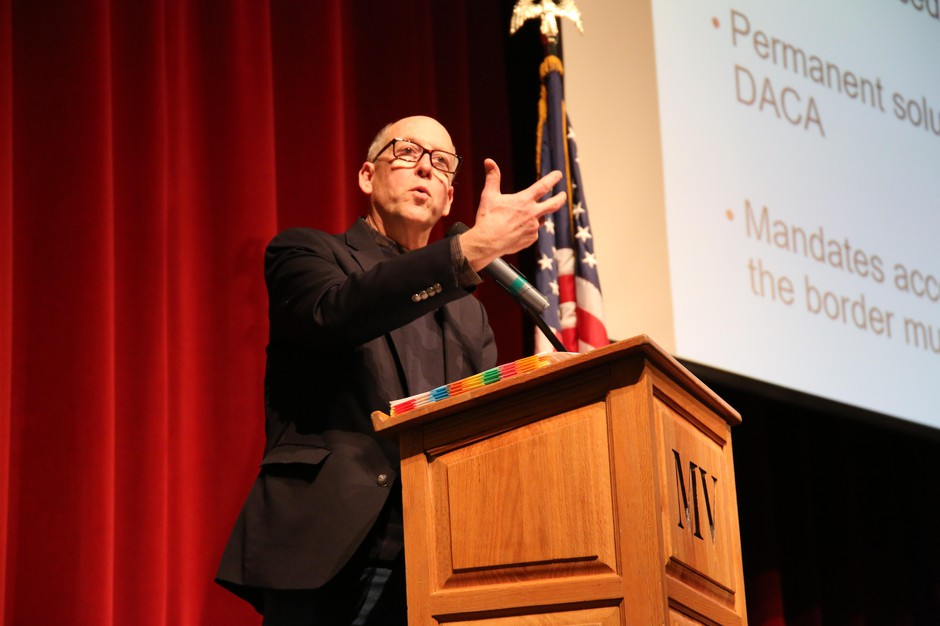 Rep. Greg Walden, R-Ore., talks to a town hall audience of about 400 in Bend on Jan. 19, 2019.