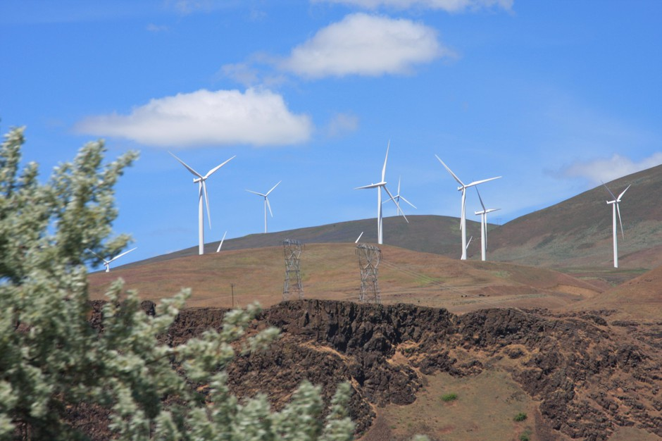 Wind turbines are pictured in the Columbia River Gorge on June 3, 2011.