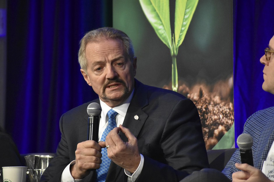 In this Oct. 11, 2019 photo, U.S. Bureau of Land Management Acting Director William Perry Pendley speaks at a conference for journalists in Fort Collins, Colorado. A new report from the Government Accountability Office highlights violence against employees for the BLM and other agencies amid heightened tensions with anti-government groups.