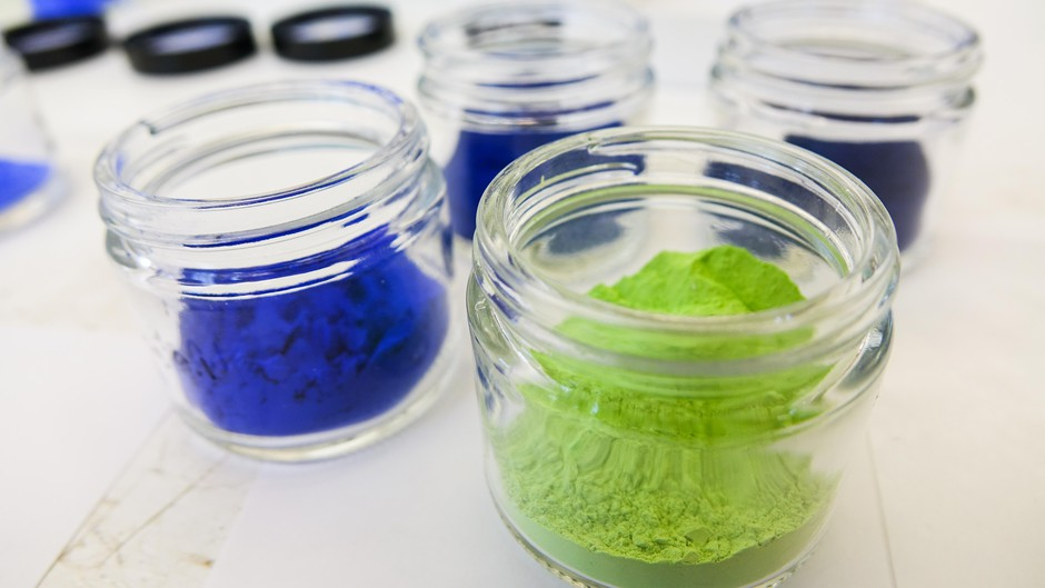 Various pigments created in Mas Subramanian's lab.