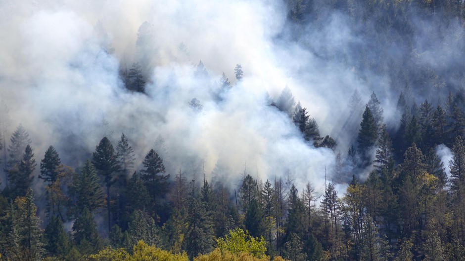 Smoke covers a hillside in the Applegate Valley of southwestern Oregon during a prescribed burn operation.