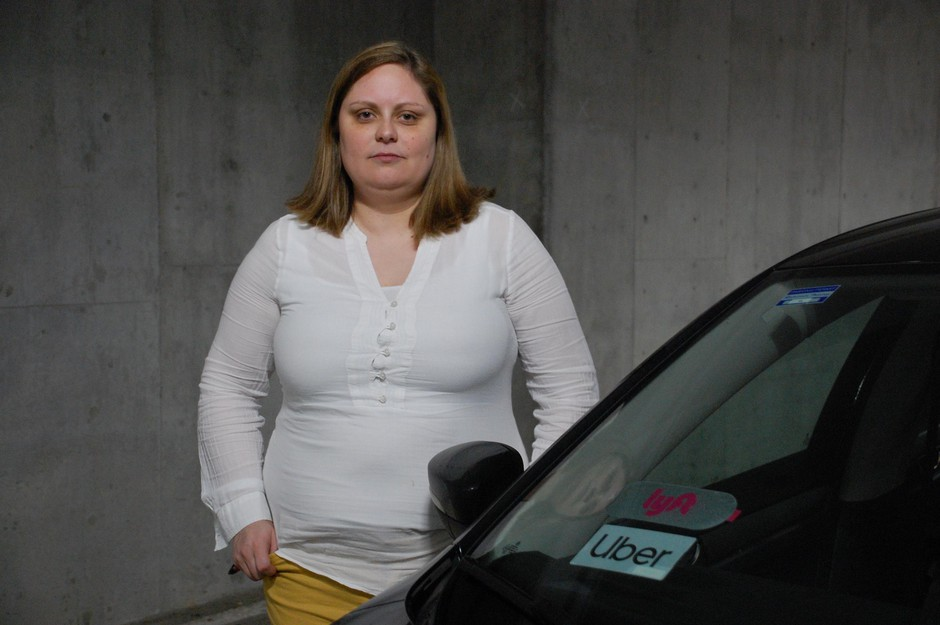 Driver Stephanie Strahan in Portland, Ore., on March 9, 2020. She applied for the CARES Act's expanded unemployment benefits at the end of March.