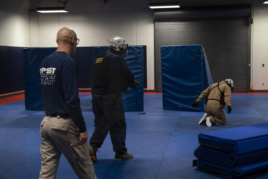 Trainees go through live fire scenarios at the Department of Public Safety Standards and Training's (DPSST) basic police course on Sept. 14, 2018, in Salem, Oregon. The basic police course is mandatory for all police officers in the state of Oregon.
