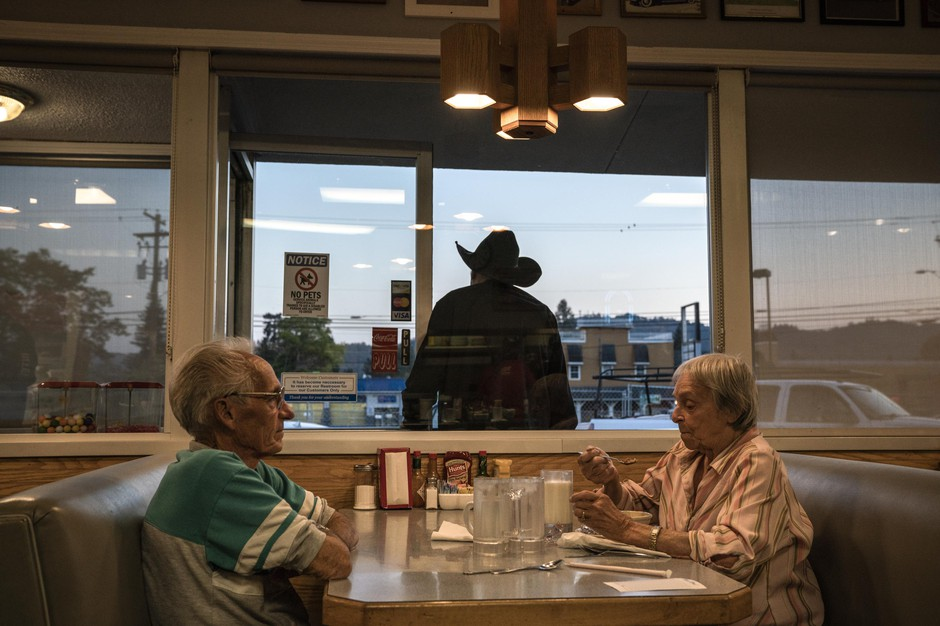 Richard and Erlene Stratton eat at Casey's Diner on October 22 2018 in Roseburg, Oregon. They've lived in Douglas County and been gun owners for over 80 years and said they would probably vote for the Second Amendment Preservation Ordinance on the ballot.