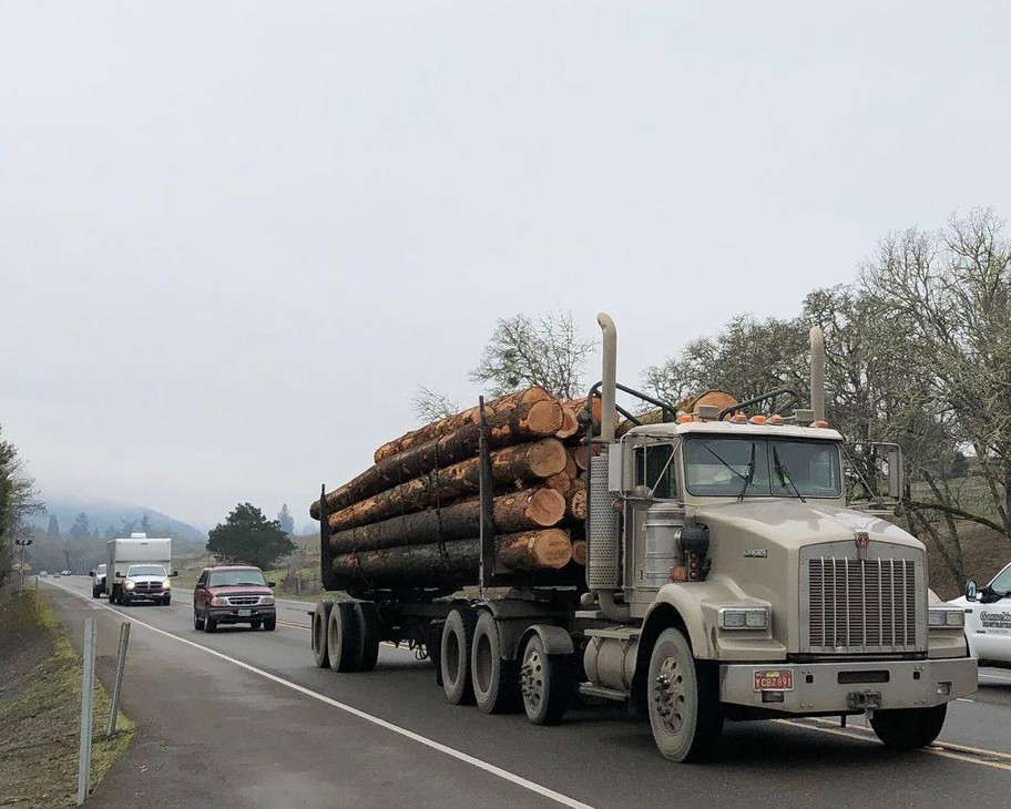 A logging truck is pictured in this undated photo.
