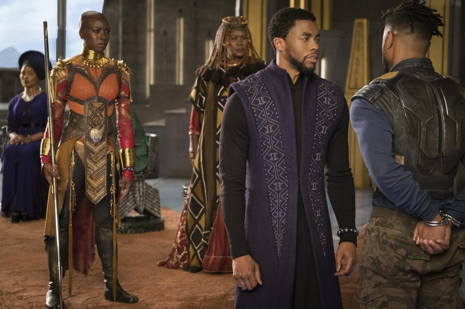 While the basic design of the Black Panther costume worn by Chadwick Boseman came together before Ruth E. Carter came on the project, she had many opportunities to bring her sensibility to the character of King T'Challa, adding detail and texture to the suit, and dressing him for non-action sequences.