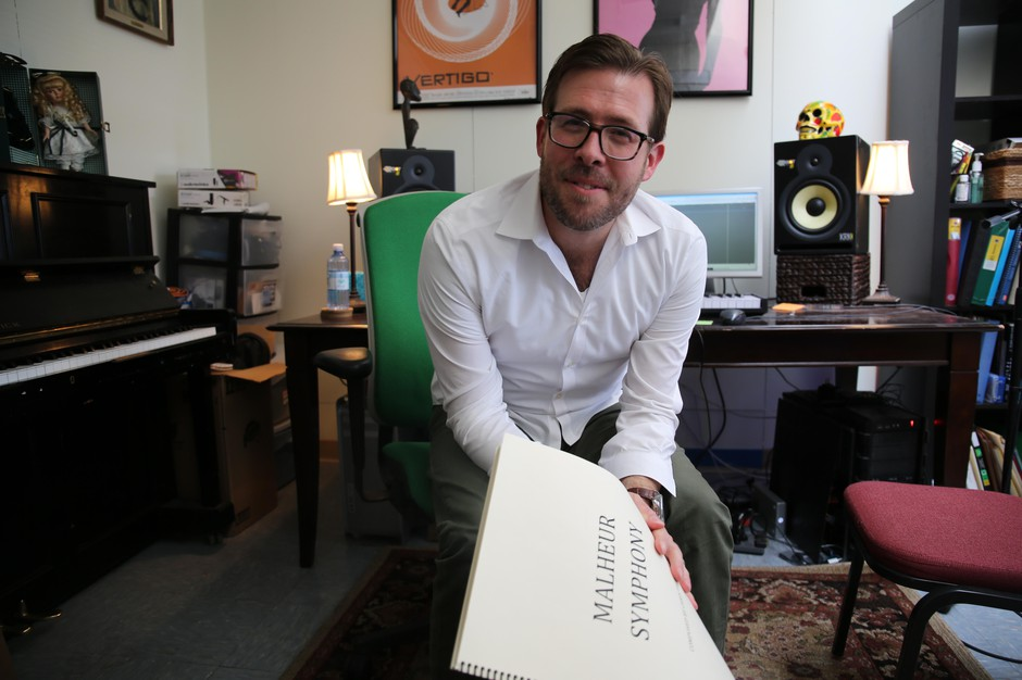 Composer Chris Thomas in his Central Oregon Community College studio in Bend, Ore., on April 8, 2019.