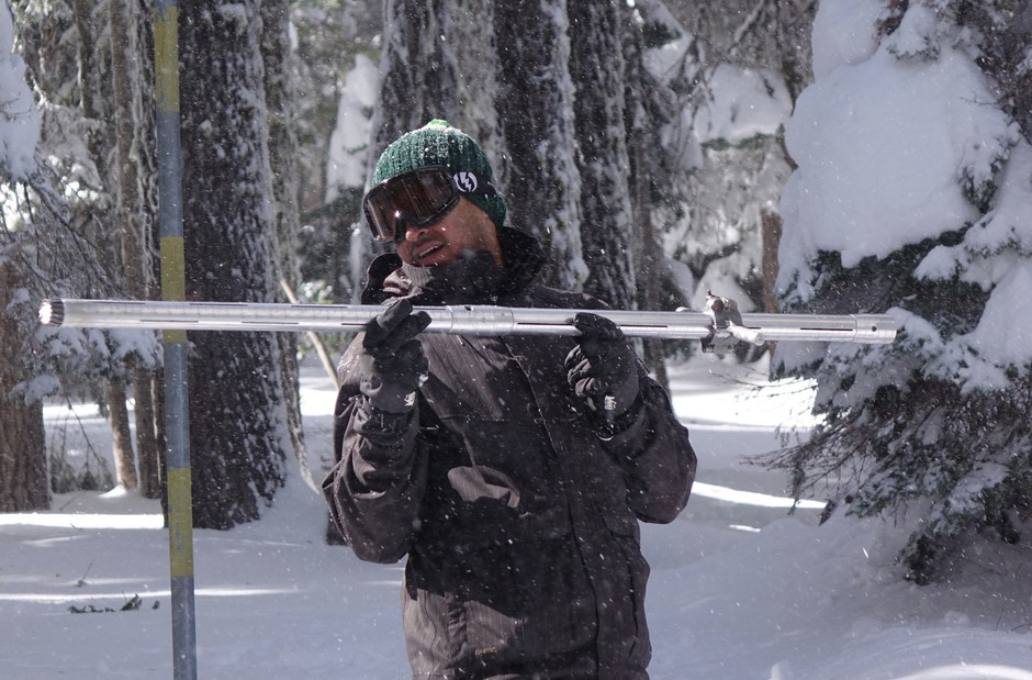 Jackson County Watermaster Shavon Haynes prepares to weigh a snow core sample in Southern Oregon.