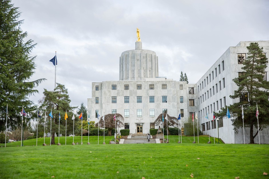 "The Oregon Capitol sits behind the ""Walk of Flags"" in Salem, Oregon, Saturday, March 18, 2017."