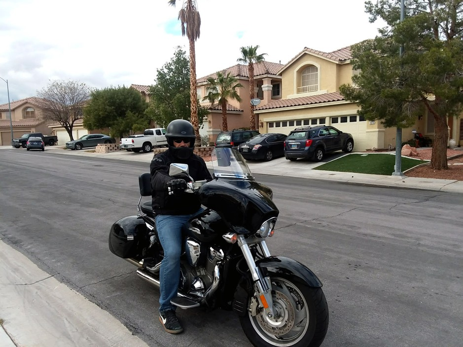 Ali Amhaz, a Legend Solar customer in Las Vegas, rode his black Honda motorcycle to the company's headquarters to demand a refund on his $28,000 deposit. He's still waiting for payment.