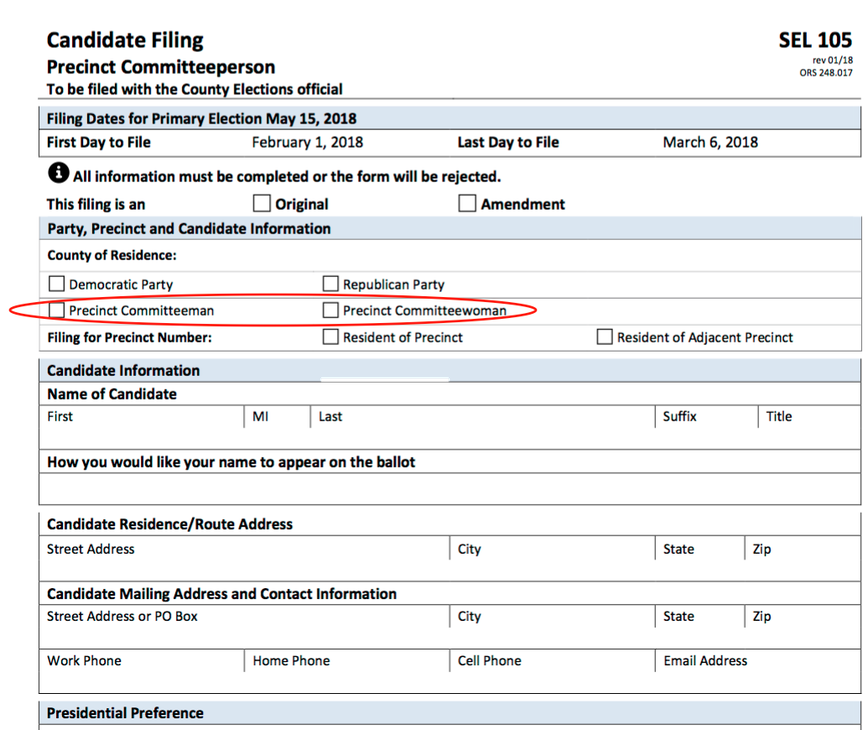 Candidate filing form for precinct committee person.