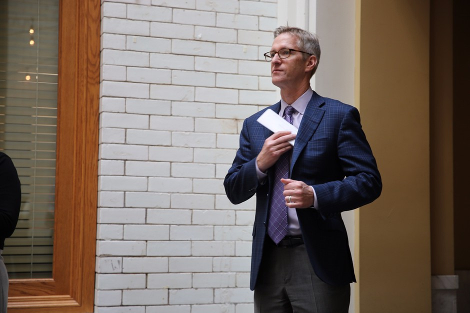 Mayor Ted Wheeler at a press conference on September 15, 2017.