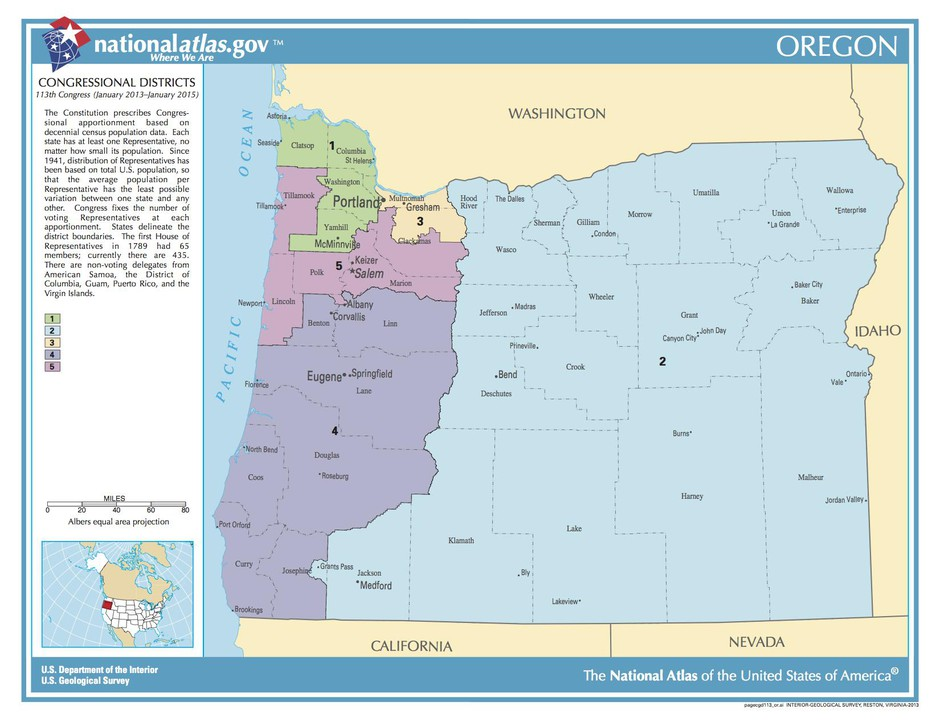 A map of Oregon's congressional districts in 2018. Population forecasts indicate Oregon is on track to gain a sixth seat in the U.S. House of Representatives.