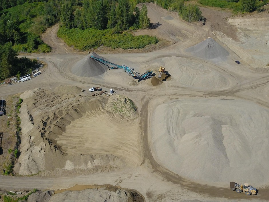 Drone images, taken by a nearby resident, show rock crushing operations at the Zimmerly mine. A 2018 court case found that the mine's permit did not cover rock crushing operations, and the mine temporarily removed crushing equipment in April 2018. Operations resumed in July, and this image was taken on Aug. 3, 2019.