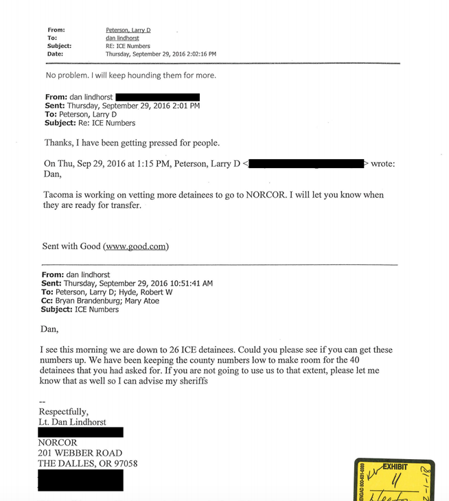 A September 2016 email exchange between NORCOR Lt. Dan Lindhorst and ICE official Larry Peterson.