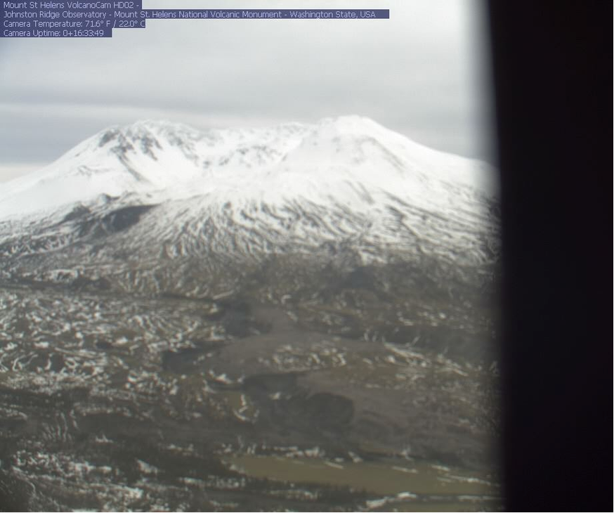 A Jan. 11, 2019, screenshot shows one of the Forest Service's Mount St. Helens webcams out of focus after rough weather. The other has been offline since mid-December.