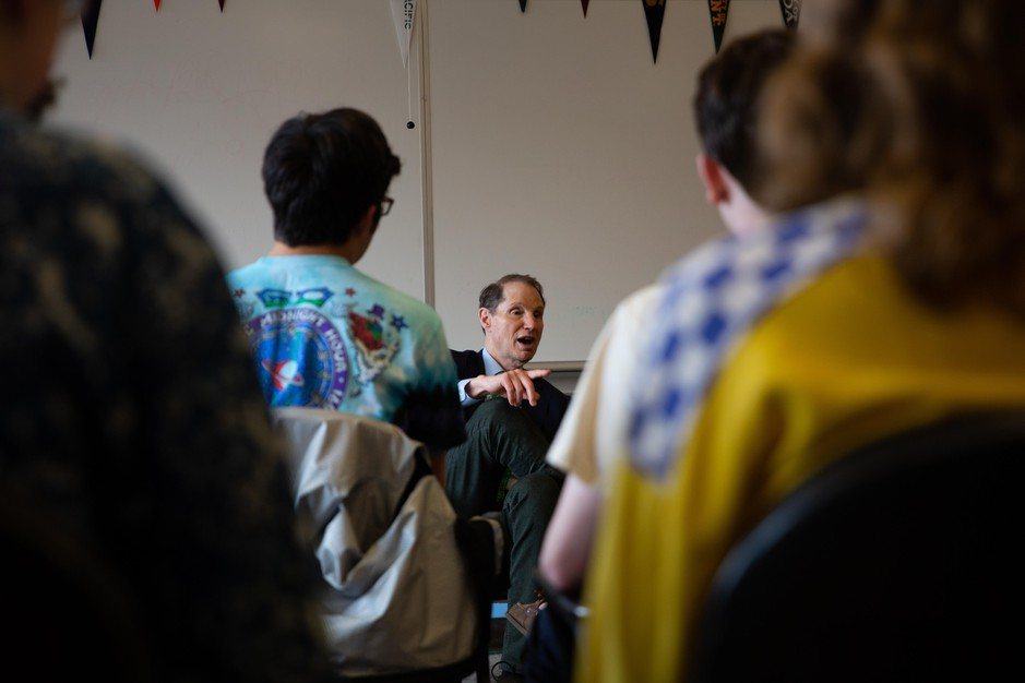 U.S. Sen. Ron Wyden, D-Ore., speaks with high school seniors at Madison High School in Portland, Ore., Thursday, March 21, 2019.