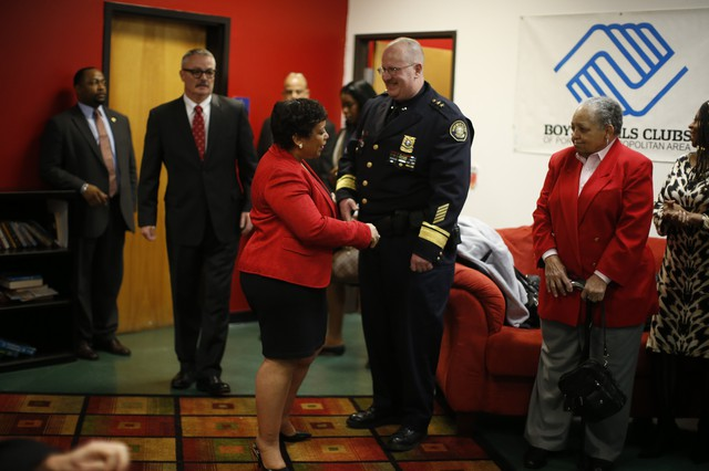 Attorney General of the United States Loretta Lynch visits the Blazers Boys and Girls Club in NE Portland, March 3, 2016. Lynch is in Portland to highlight community policing partnerships here -- one of six cities that her office has chosen as public safety role models.