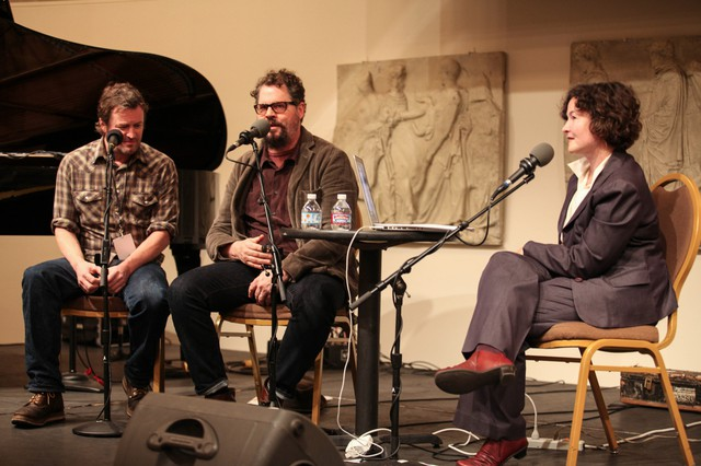 Willy Vlautin (left) and Patterson Hood speak with April Baer at Wordstock.