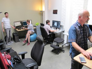 Brian Jamison (right) and team at Jumpdrive HQ in Southeast Portland.
