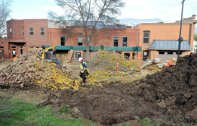 The brick courtyard where Green Shows are held at the Oregon Shakespeare Festival is being expanded.